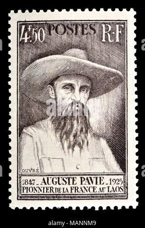 Sello francés (1947) : Jean-Marie Auguste Pavie (1847 - 1925) funcionario colonial francés, explorador y diplomático instrumental en establecer