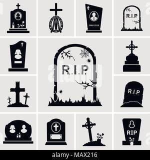 Cementerio de cruces y lápidas conjunto de iconos