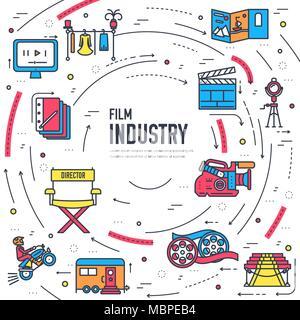La industria del cine de calidad Premium conjunto de diseño de línea fina. Filmación símbolo minimalista infográfico. Esquema de la tecnología de película de icono de plantilla, la tipografía, el logo, el pictograma y la ilustración concepto