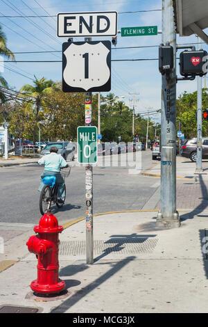 El final de la autopista 1 en Key West, Florida.