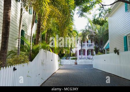 Una pequeña calle lateral en Key West, Florida.