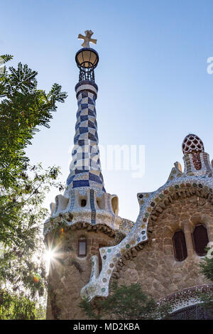 Una vista de Antoni Gaudí Parc Guell en Barcelona.