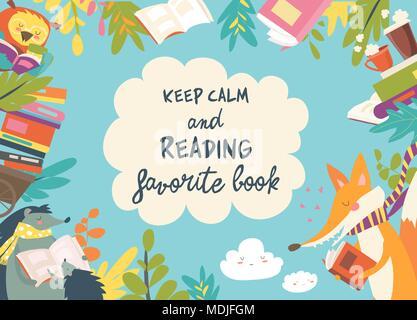 Cute trama compuesta de animales leyendo libros
