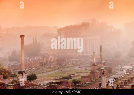 El Foro romano en la niebla de la mañana al amanecer, el Foro Romano, Roma, Lazio, Italia
