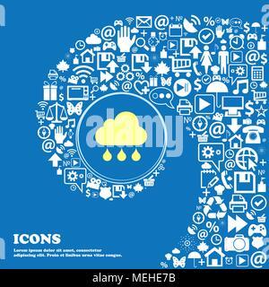 Icono de nube de lluvia . Buen conjunto de iconos hermosos torcido espiral hacia el centro de un gran icono. Ilustración vectorial