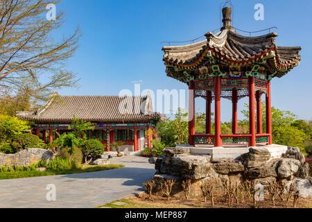 El templo chino, Xiamen International Garden & Flower Expo Park, Distrito Jimei, Xiamen, Fujian, China