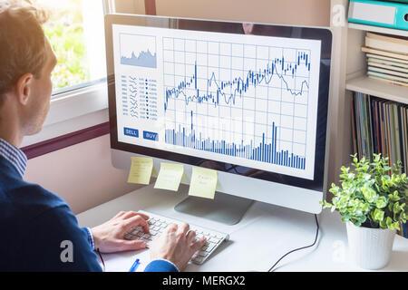 Home analizando trader Forex (Foreign Exchange) y gráficos comerciales compra venta de botones en la pantalla del ordenador, de los mercados de inversión, tecnología financiera (