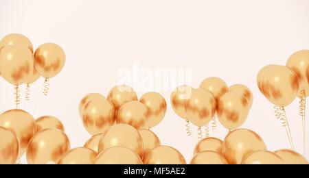 3D Rendering del Partido realista Closeup globos sobre un fondo claro