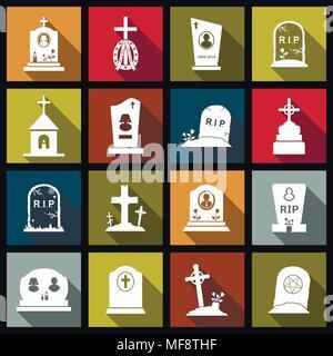 Cementerio, cruces, lápidas y lápidas planas iconos de diseño conjunto. Ilustración vectorial.