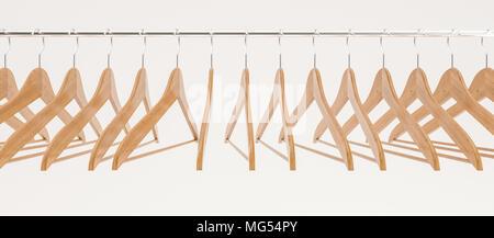 Percha de madera aislado en blanco -- 3D Rendering