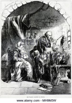 Sir Walter Raleigh, 1554 - 1618 fue un Inglés aterrizó caballero, escritor, poeta, soldado, político, cortesano, espía y explorer, mostrado aquí en prisión en la torre 1603 , ilustración de antigüedades de circa 1880 Foto de stock