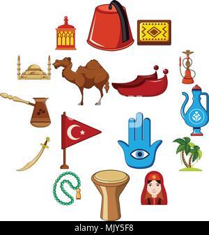 Viajar en Turquía, el conjunto de iconos de estilo de dibujos animados