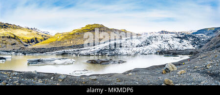 Paisaje Panorámico del glaciar en Islandia Foto de stock