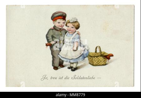 """Postal: militar alemana antigua serie humorística de niños como adultos """"Sí, fiel a la vida del soldado."""" La I Guerra Mundial, 1914-1918, Alemania"""