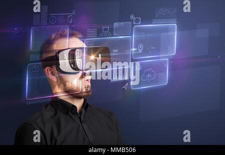 Sorprendido el empresario con gráficos y datos de realidad virtual delante de él