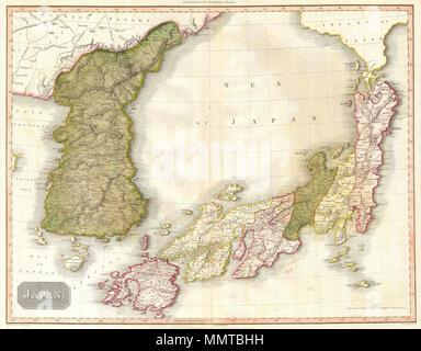 1818 Pinkerton Mapa de Korea y Japón Foto & Imagen De Stock ...