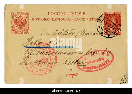 Postal de la antigua Rusia de padres a prisioneros de guerra en Alemania. La sociedad de la Cruz Roja. Sello impreso. El matasellos de correos de la ciudad de Minsk, de la I Guerra Mundial