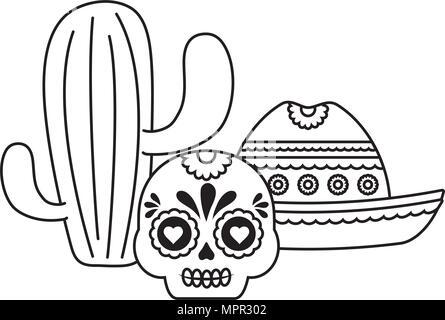Cactus con calaveras de azúcar mexicano y sombrero sobre fondo ...