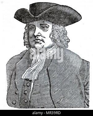 Retrato de William Penn (1644-1718) Inglés, un empresario de bienes raíces, filósofo, principios Cuáqueros, fundador del Estado de Pennsylvania. Fecha del siglo XIX