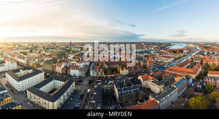 Copenhague, Dinamarca Hovedstaden, en el norte de Europa. Un alto ángulo de visualización de Copenhague