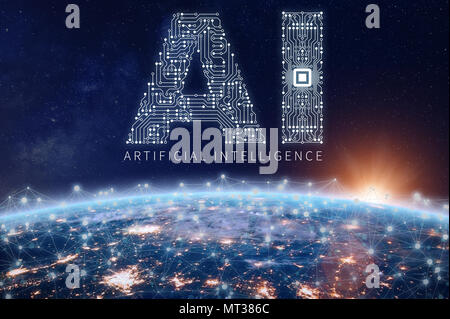 Concepto de tecnología de inteligencia artificial con texto AI hecha de placa de circuito electrónico con microchip sobre el planeta Tierra, con conexión de red, dat