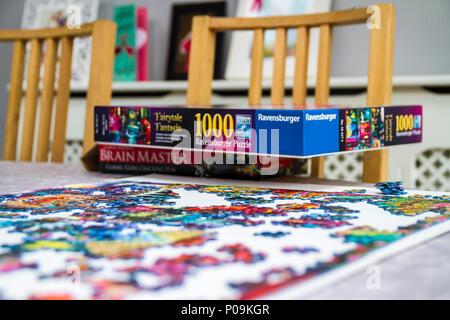 Grandes piezas de un rompecabezas de 1.000 piezas de varios colores, colorido, diversión familiar educativa