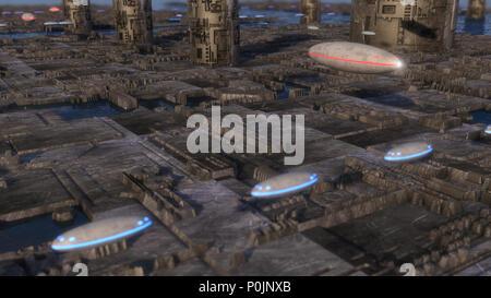 3D Render. Ciudad futurista y naves espaciales