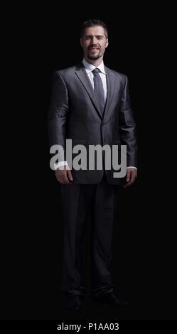 Apuesto hombre de negocios maduro aislado sobre fondo negro