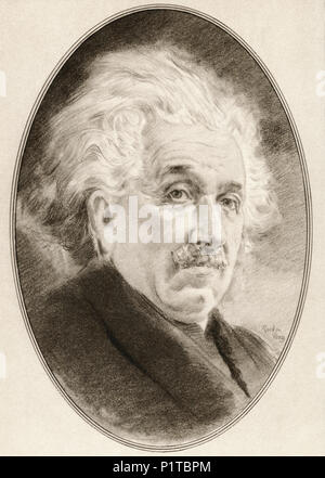 Albert Einstein, 1879 - 1955. El físico teórico nacido en Alemania, quien desarrolló la teoría de la relatividad. Ilustración por Gordon Ross, artista e ilustrador americano (1873-1946), vivir de las biografías de grandes científicos. Foto de stock