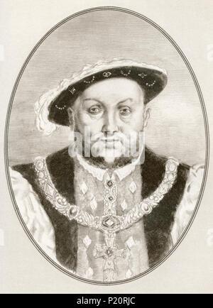 Henry VIII,1491 - 1547. El rey de Inglaterra. Ilustración por Gordon Ross, artista e ilustrador americano (1873-1946), de vivir biografías de famosos gobernantes. Foto de stock