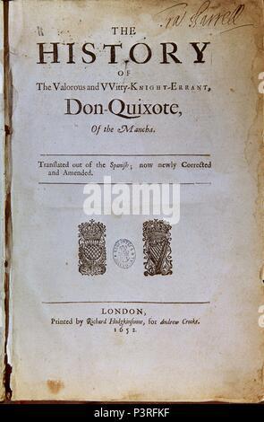 PORTADA EDICION INGLESA DE 1652 DEL QUIJOTE. Autor: Miguel de Cervantes Saavedra (1547-1616). Ubicación: BIBLIOTECA NACIONAL-COLECCION, Madrid, España.