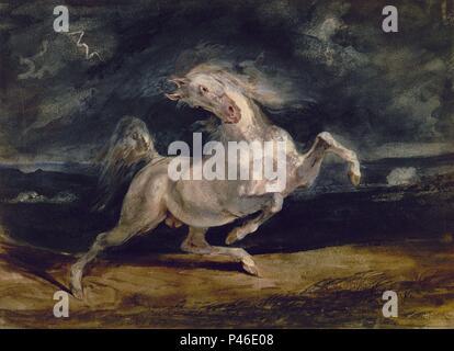 CABALLO ASUSTADO POR LA TORMENTA - SIGLO XIX. Autor: Eugène Delacroix (1798-1863). Ubicación: Museum of Fine Arts, Budapest, Hungría. Foto de stock
