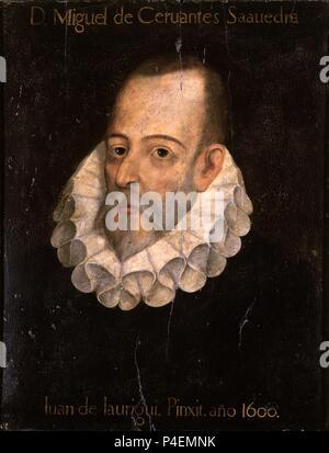 """""""Retrato de Miguel de Cervantes y Saavedra', 1600, óleo sobre panel. Autor: Juan de Jáuregui (1583-1641). Ubicación: ACADEMIA DE LA LENGUA-COLECCION, Madrid, España."""
