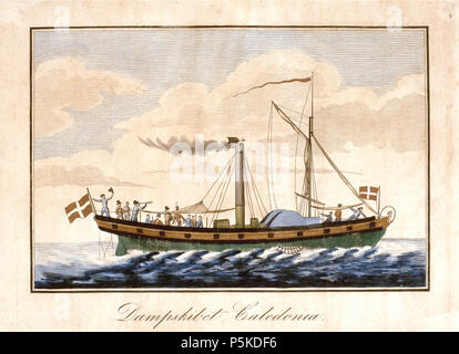 """Caledonia . Inglés: Dinamarca el primer barco de vapor, el barco de vapor Caledonia, fue adquirido usado en Inglaterra en 1819 y sirvió como un vaporizador de pasajeros y correo en la ruta entre Copenhague y Kiel. La imagen, que parece ser una litografía, probablemente se remonta a los años de actividad de la nave, y a más tardar en 1897, cuando fue utilizado en el libro """"Vort folk i det nittende aarhundrede'. Archivo en mfs.dk (ver fuente). El archivo original está etiquetada como CC-BY-NC-SA a M/S Museet para Søfart' (Danish Maritime Museum). . Entre 1819 y 1897. N/A 263 Caledonia - primer vapor danés"""