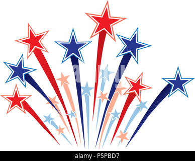 Rojo, blanco y azul de Fireworks Starburst