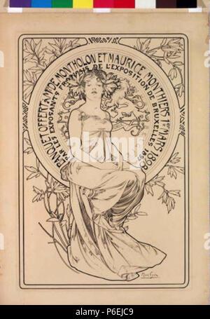 .: Plakát banket eština na 1898 6 Autor Alfons Mucha 24.7.1860-14.7.1939 - Plakat na banket