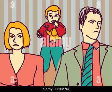 Infeliz disputa familiar de divorcio de los padres pareja niño triste