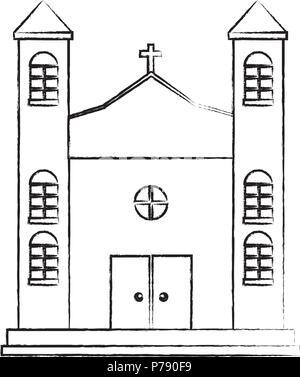 Icono de edificar la iglesia sobre fondo blanco, ilustración vectorial