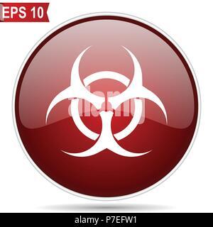 Biohazard rojo cereza brillante ronda web icono de vector. Editable diseño moderno círculo sencillo botón de internet sobre fondo blanco.