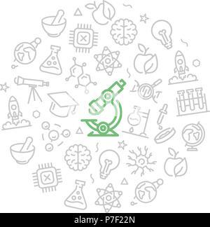 Conjunto de iconos de ciencia e investigación de vectores en el círculo del concepto de diseño. Ilustración para presentaciones sobre fondo blanco.