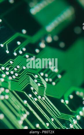 Close-up detalle de placa de circuito electrónico. Foto de stock
