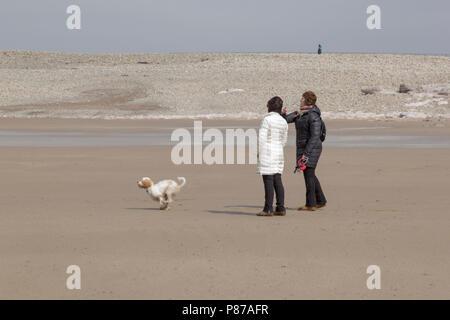 Porthcawl, Gales del Sur, Reino Unido. 14 de abril de 2018. El clima del REINO UNIDO: Paseadores de perros paseo a su perro en la playa de Porthcawl, Gales del Sur, en un día soleado.