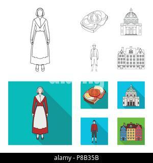 Dinamarca, historia, restaurante y otro icono en su contorno,flat style.sándwich, comida, pan iconos en conjunto