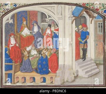El Consejo de Clermont en 1095. Miniatura de la 'historia' por Guillermo de Tiro. Museo: Bibliothèque de Genève.