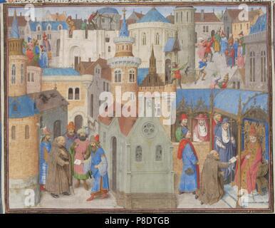 Pedro el Ermitaño escucha el papa Urbano II en el concilio de Clermont. Miniatura de la 'historia' por Guillermo de Tiro. Museo: Bibliothèque de Genève.