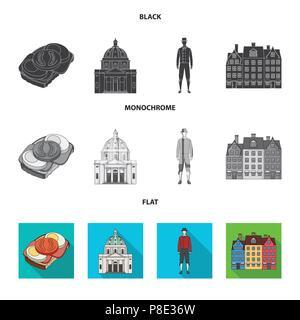 Dinamarca, historia, restaurante y otro icono en color negro, plana, estilo monocromo.Sandwich, alimentos pan iconos en conjunto