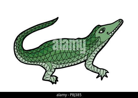 Alligator maraña zen y doodle ilustración vectorial. Libro para ...