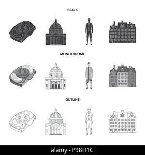 Dinamarca, historia, restaurante y otro icono en negro,monocromo, el estilo de esquema.Sandwich, alimentos pan iconos en conjunto