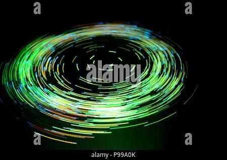 Vortex efecto creado con fuente de luz de fibra óptica