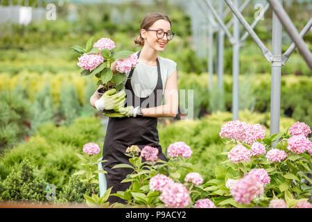 Mujer con plantas en el invernadero